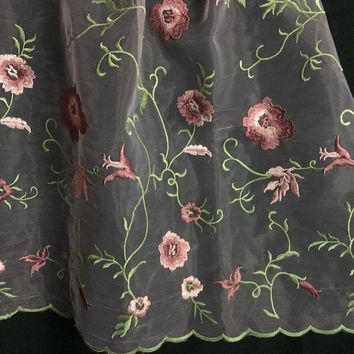 """Beautiful Allover, Double Boarder Floral Embroidery on Organza ground fabric, Choose Color, 52"""" Wide"""