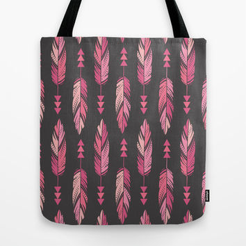 Painted Feathers in a Row-Gray Tote Bag by Bohemian Gypsy Jane | Society6