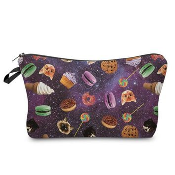 Cool Cat Sweets Cookies Lollypop Donuts Macaroon Cosmetic Zippered Bag