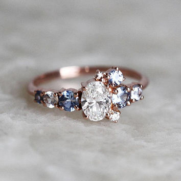 Diamond Ring, Diamond Sapphire Ring, Diamond Cluster Ring, Sapphire Engagement Ring, Diamond Engagement Ring, Gold Cluster Ring, multistone
