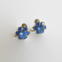 Blue Cluster Earrings, Cobalt Rhinestones & Gold Tone Metal, Stylized Floral Motif, Charming!