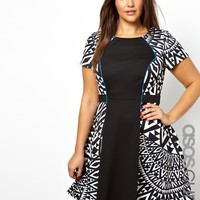 ASOS CURVE Exclusive Skater Dress With Mono Print Blocking