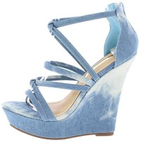 STELLA CROSS-STRAP WEDGE (DENIM)