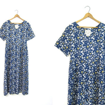 90s Floral Dress Long Short Sleeve Empire Waist Dress Blue BOHO Vintage Womens Maxi Dress Button Down Revival Slip Dress Size Medium