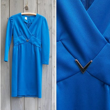 Vintage dress | Royal blue cocktail dress with gold V decoration