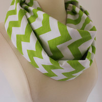 Chunky Chevron Scarf- White and Green Infinity Scarf - Loop Scarf, Circle Scarf - Handmade Women's Accessory