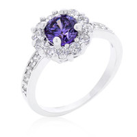 Purple Halo Engagement Ring, size : 05