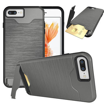 for iPhone 7 funda Luxury Slim Hybrid Credit Card pocket Hidden pouch Phone case PC Back Cover for Apple iPhone 6S 6s Plus Coque