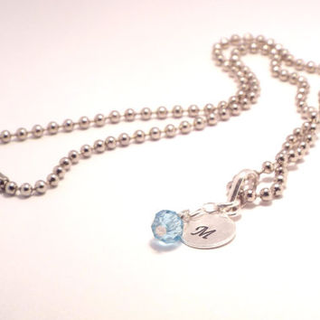 Initial Necklace, Hand Stamped Charm Necklace, Birthstone Necklace, Monogram Necklace, Initial Charm, Monogram Jewelry, Initial Jewelry (B35