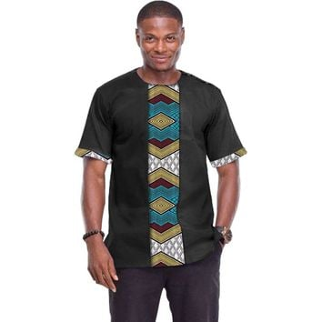 African tops for men o-neck short sleeve dashiki patchwork t-shirts Ankara print Africa style traditional men's clothing