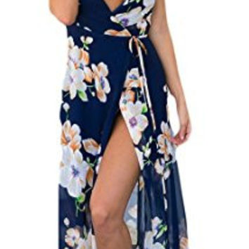 Blue Floral Print V-Neck Side Slit Maxi Dress