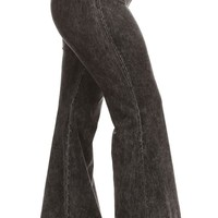 Chatoyant Plus Size Mineral Wash Flare Pants in Grey
