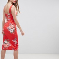 ASOS DESIGN floral print midi pencil dress with thigh split at asos.com