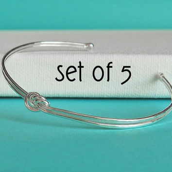 Love knot bracelet, double knot silver bangle, SET OF 5 bridesmaid gift, tie the knot bracelet bridesmaid jewelry, wedding jewelry