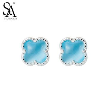 SA SILVERAGE Real 925 Sterling Silver Stud Earrings Fine Jewelry For Women Four Leaf Clover 2016 New Design 11.11 Gift