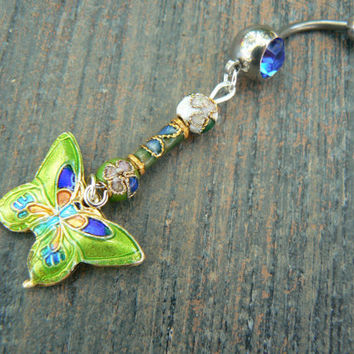 cloisonne butterfly belly ring LIME GREEN cloisonne beads in beach boho gypsy hippie belly dancer  fantasy beach hipster and fantasy style