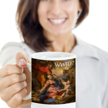 What Would Jesus Do WWJD Mug Christian Jesus Mug Tea Coffee Cocoa Spirituality Cups Christianity Religion Gifts Easter Holidays 2017 2018 Best Christ Gift For Religious Christians Jesus God Mugs