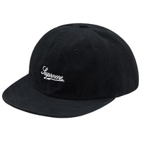 Brushed Twill Script 6-Panel Hat Black