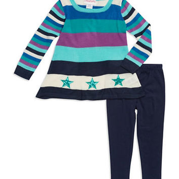 Flapdoodles Baby Girls Striped Sweater Set