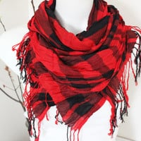 Ethnic Men scarves, Turkish linen scarf, Color Men scarves, Striped scarf men, Rainbow linen scarf, Red Black scarves, Plaid Men gifts