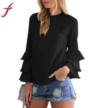 Women Ruffles Shirt O-Neck Pullover Long Puff  Sleeve Blouse Sweet Women Loose Shirt 2017 Summer Tops Blusas