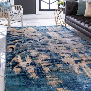 0155 Navy Blue Abstract Calligraphy Contemporary Area Rugs