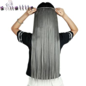 S-noilite 26inches Silky Straight Long Clip in Full Head Hair Extensions Piano Colors 5clips ins Natural Synthetic Hair piece