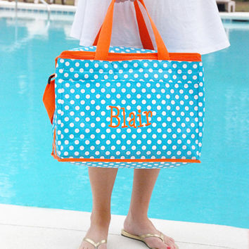 Polka Dot Cooler Bag Aqua And Orange Insulated Tote Monogrammed Personalized