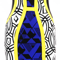 Brooklyn Geometric Color-block Bandage Dress