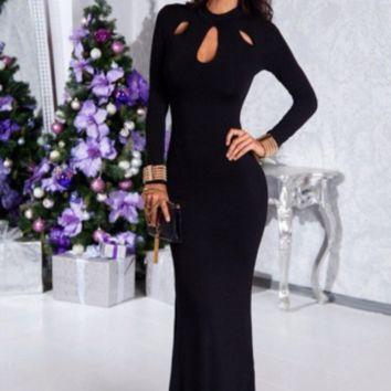 Long autumn and winter sexy black dress