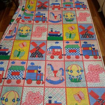 Vintage 70s calico patchwork train butterfly elephant hot air balloon ships windmills gingham floral plaid children's fabric 7 yds x 44""