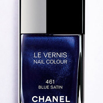 iPhone 5S Case - Rubber TPU Cover with Chanel Nail Polish Blue Satin Rubber Case Design