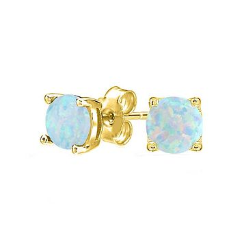 Unique In Style Trendy Earrings 1.55 CTTW Oceanic Opal Classic Studs in 18K Gold Plating (Multiple Options)
