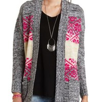 Striped Tribal Print Marled Cardigan