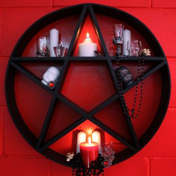 Pentagram Star Shelves [Black & Red]