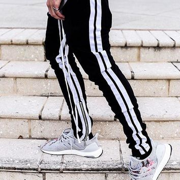 2018 new Best version Fashion kanye west hiphop Retro white edge Side zipper justin bieber Fear Of God pants bound feet jogger