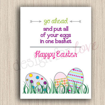Eggs In One Basket - Printable File - Easter Decor - Spring Decor