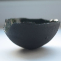 Stoneware small decorative bowl with chocolate black clay.