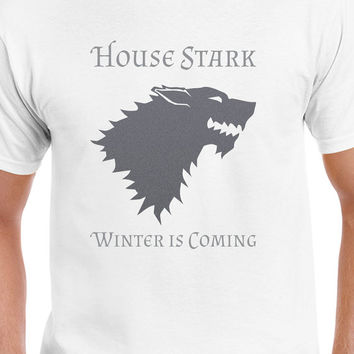 House Stark Winter Is Coming Gray Game Of Thrones  T-Shirt Winterfell Inspired T-Shirt Design