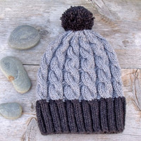 Slouchy Cable Knit Hat in Dark Grey and Light Grey with Pom Pom,  Women  Slouchy Cable Knit Hat, Dark Charcoal Gray, Light Gray, Pom Pom Hat