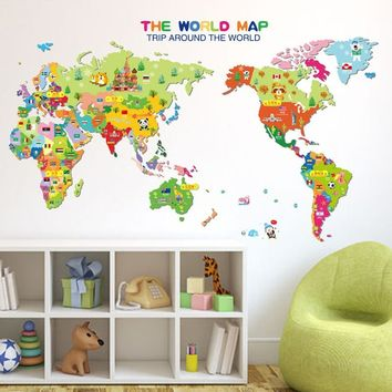 Children Animals World Map Vinyl Art Wall Sticker Decals Kid Playroom Home Decor