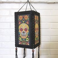 Wood & Paper Sugar Skull Lantern Day of the Dead