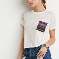 Southwestern-Patterned Pocket Tee - Tops - 2000113961 - Forever 21 EU