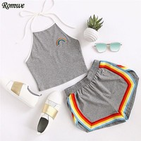 Rainbow Patch Halter Crop Top And Colorful Trimming Shorts Set