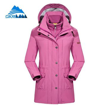 Womens Winter Long 3in1 Fleece Liner Windstopper Waterproof Outdoor Jacket Women Camping Ski Hiking Coat Fishing Casaco Feminino