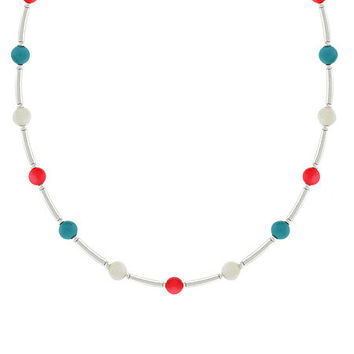 Sterling Silver Bamboo Pink Coral, Mother of Pearl, & Created Blue Turquoise Bar & Bead Necklace