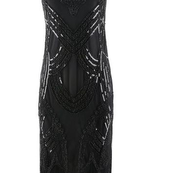 Women Vestidos Black Vintage 1920s Flapper Great Gatsby Fringe Beaded Dress Stunning Sleeveless V Neck V Back Sequin Party Dress