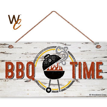 "BBQ Time Sign, Weathered Distressed Wood, Weatherproof, 5"" x 10"" Sign, Summer Party Sign, Gift ForDad, bbq Grill,  BBQ Truck,  Made To Order"