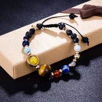 Cosmic Galaxy Solar System Eight Planetary Natural Stone Bracelet