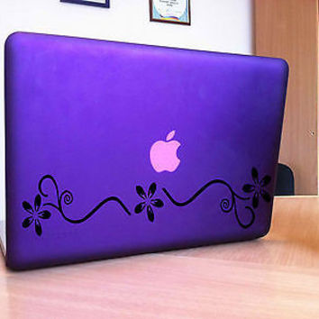 MACBOOK IPAD LAPTOP VINYL STICKER DECAL CUSTOM SIZE  FLOWERS FLORAL PATTERN T276